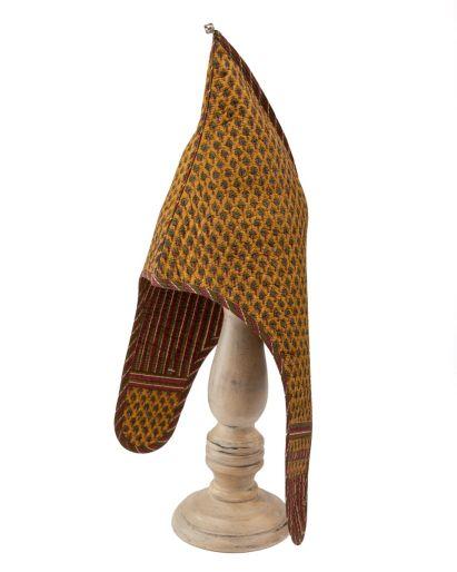 Lama Hat (Yellow Gud Neem Buti/ Maroon Chutni Stripes) (2-4 Years)