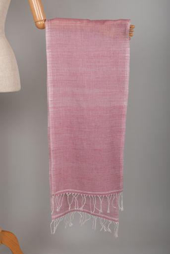 Scarf Khadi Pink with White fringe