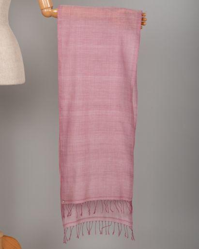 Scarf Khadi Pink with Pink fringe