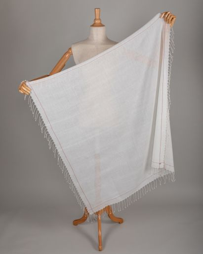 Scarf Khadi 300 counts off white with one line Madder Selvedge