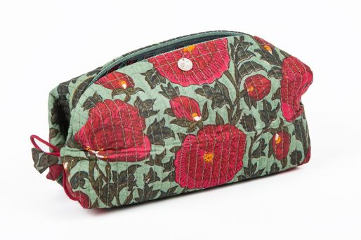 Kim pouch small (Pavot on Green)