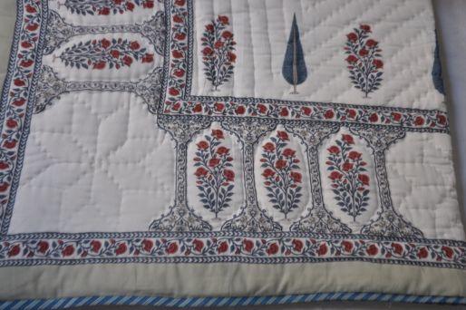 Quilt: Mughal Rose Blue Leaf & Cypress, Small Single
