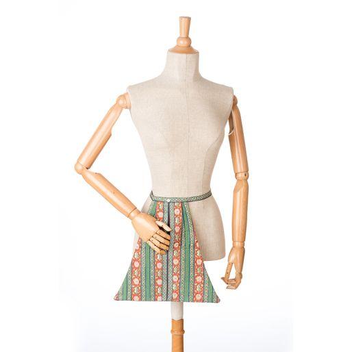 Gujurati Poche (Pavot Stripes Green Piping)
