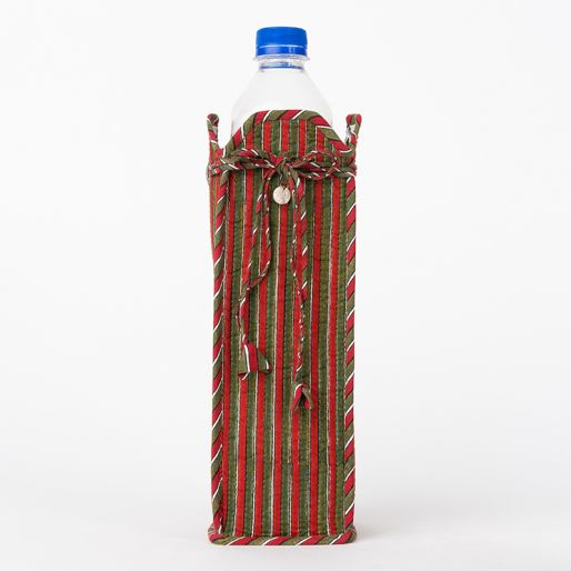Bottle Cover (Red And Green Stripes )